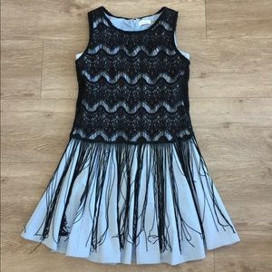 Dress with Lace and Tassel Overlay